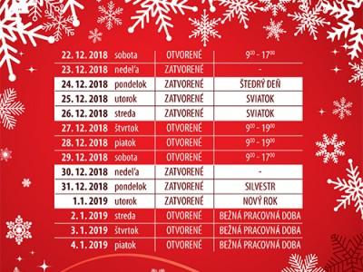 Vianočná otváracia doba Bratislava
