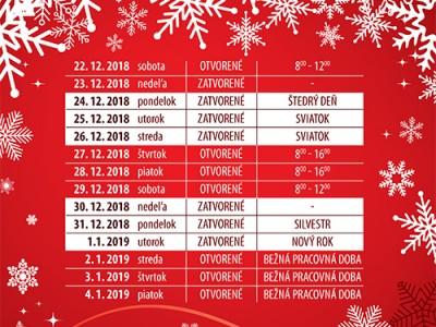 Vianočná otváracia doba Košice a Prešov